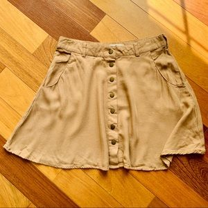 Forever 21 Tan Buttoned High-waisted Skirt, small